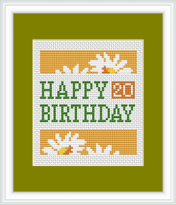 Beautiful and bright floral cross stitch card for the 20th birthday.If desired, you can change the number with another.
