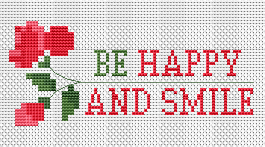 A positive cross stitch card for friends to make them happy and smile more.Be happy and smile!