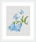 Beautiful floral design with blue butterflies on withe fabric 14 count. Suitable for cards making.