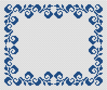 Monochrome border cross stitch pattern with floral motifs.Suitable for table runners,napkins,frames and other similar projects.