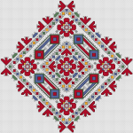 Large cross stitch pattern based on traditional Bulgarian embroidery.It was used to decorate the sleeve of a woman's shirt.