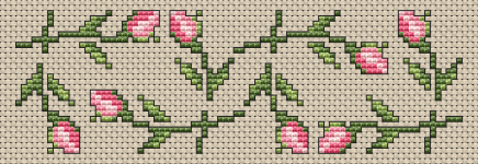 Composition with single roses for making bookmarks or other cross stitch projects.