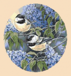 Beautiful spring birds among blooming lilacs.