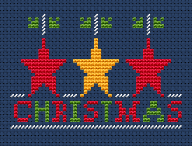 "Cross stitch Christmas card with decorations - stars and text: ""Christmas"". This pattern contains full and half stitches."