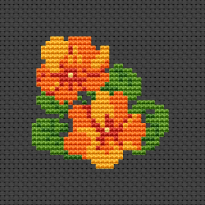 Miniature cross stitch pattern of Nasturtium flowers in orange - red colors. With this design you can make a beautiful card for a birthday or other occasions.