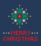 "A cross stitch pattern by which you can make a Christmas ornament or card by adding the text: ""Merry Christmas"""