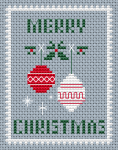 А Christmas card with Christmas tree decorations.Contains full stitch and here is a backstitch with three colors, so look at the color photo for details.