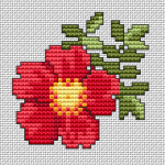Beautiful floral cross stitch pattern of a red climbing single rose. Suitable for cards, decoration of clothes, embroidered jewelry and more.