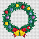 Christmas Wreath  cross stitch pattern with bells and decorations  for your Christmas projects.