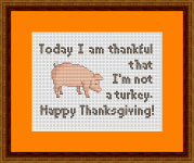 A humorous and cute cross stitch pattern on the occasion of Thanksgiving in the United States.