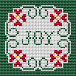 Cross stitch pattern for a card, a small Christmas tablecloth, a Christmas tree decoration and more.