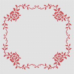 Monochrome pattern for a borer with roses.Suitable for small tablecloths, photo frames and other projects.