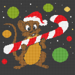 Christmas mice with candy cane cross stitch pattern for black or dark blue Aida 14 ct.