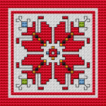 A popular motif from the Bulgarian embroideries for cross-stitch embroidery. It also contains a contour stitch of all colors, which makes it very effective.