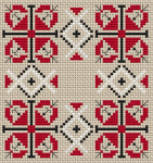 Small cross stitch pattern with three colors for  pincushion/biscornu and other projects.