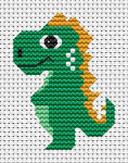 Free cross stitch pattern of a cute baby dinosaur. Contains full stitches, backstitches, 3/4stitches,frencj knot.