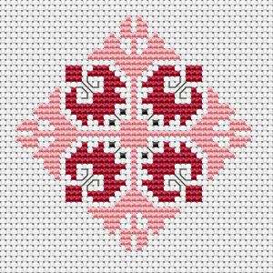 Beautiful and delicate motif in pink and red, suitable for embroidered jewelry, such as medallions, bracelets and others.