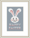 "Easter card with a cute white bunny and the text: ""Happy Easter"".