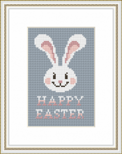 "Easter card with a cute white bunny and the text: ""Happy Easter"".  Easy to stitch and cute - will certainly bring pleasure to those for whom it is intended"