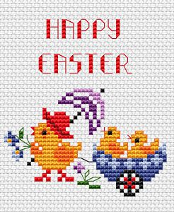 "Download and print the ""Happy Easter "" cross stitch pattern"