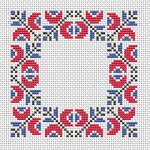 Beautiful motif used for a border with three colors: red, blue and black.. Also suitable for biscornu making.
