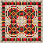 Decorative tricolor ornament with rhombuses in a colorful frame.This pattern is very suitable for biscornu making.