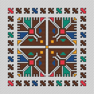 Colorful ornament based on traditional Bulgarian embroidery and adapted to cross stitch.