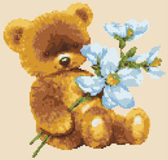 Baby Bear with Flowers free cross stitch pattern