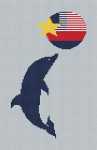 Cross stitch pattern of a dolphin playing with a ball.