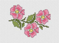 Small pattern of pink roses. Suitable for different craft projects.