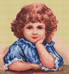 Portrait of a cute little girl designed for 14 count Aida. The chart contains only full stitches.