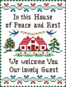Wonderful cross stitch sampler depicting a house and stylized borders.