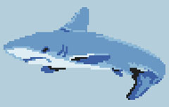Marine themed pattern of a shark in the ocean.The pattern contains only full stitches.
