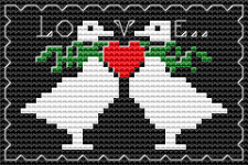 Cross stitch motif of a duck couple on a dark background.