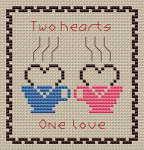 "Cross stitch pattern for coffee lovers with text: ""Tho hearts One Love"""
