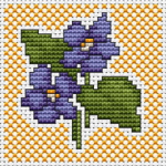 Small cross stitch pattern of violets on a yellow background.