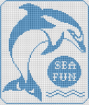 A monochrome cross stitch pattern of a dolphin - the highly intelligent marine mammals and the text:Sea Fun.