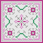 Simple biscornu pattern for beginners in pink and green.