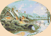 Beautiful cross stitch pattern of a winter landscape depicting a lake with a snow-covered house.