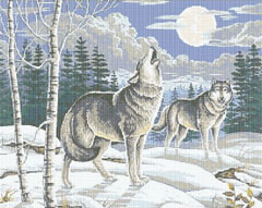 Winter cross stitch pattern of wolves howling at night.