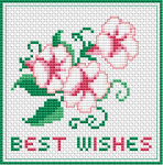 Morning glory flowers in pink and green,composed as a greeting card.If wishes were horses, beggars would ride.