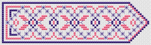 Geometric bookmark design in pink and blue with Smyrna stitches. Make sure you are familiar with Smyrna stitching.