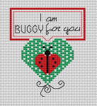 "Funny card of a ladybug and the text: "" I am buggy for you""."