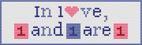 "Bookmark cross stitch pattern with the text:""In love, one and one are one."" Jean-Paul Sartre."