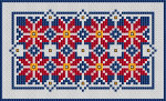 Decorative cross stitch pattern of flowers in red, blue and yellow.
