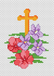Composition of spring flowers on the background of the Cross.A cross stitch pattern for the Easter and other projects.