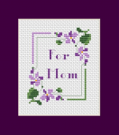 Cross stitch pattern of stylized violets. Great for making cards and other crafts projects.