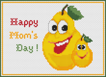 Cute pattern of yellow pears, celebrating Mother's day.
