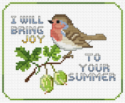 Cross stitch pattern of the robin - state bird of Connecticut, Michigan and Wisconsin.