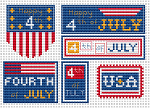 Set of six American-themed patterns.Independence Day of the United States, also referred to as the Fourth of July.